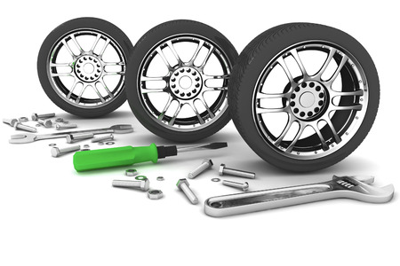vulcanize: Wheel and Tools. Car service. Isolated 3D image