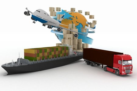 logistics world: Cardboard boxes around globe, cargo ship, truck and plane. Concept of online goods orders worldwide
