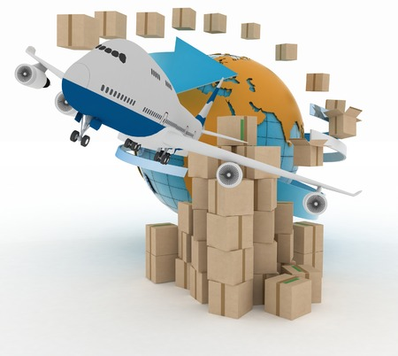 dispense: Cardboard boxes around the globe  and airplane.