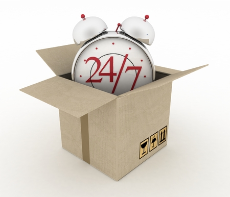 overnight delivery: Executing online delivery of goods in the stream 24 hours. Logistics concept