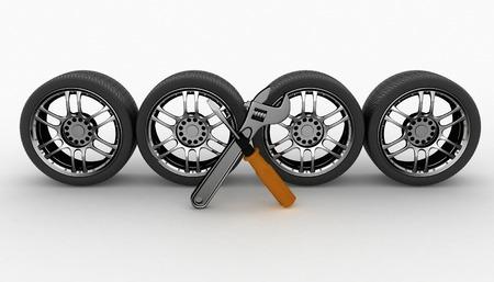 Wheel and Tools. Auto onderhoud. Geïsoleerde 3D-beeld