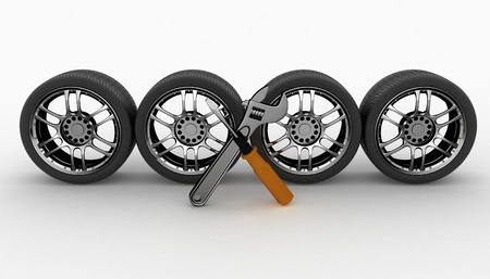 auto service: Wheel and Tools. Car service. Isolated 3D image