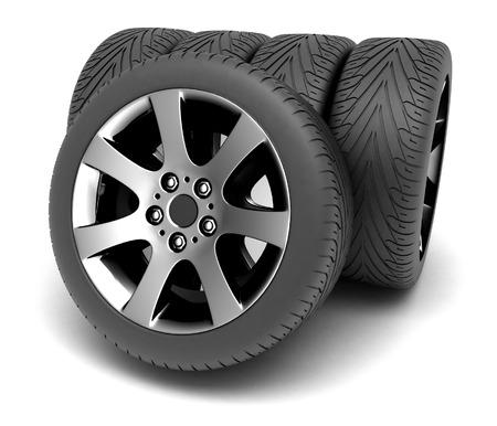 Car Wheels. Concept design. 3D render Illustration on White Background. illustration