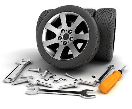 mantenimiento: Ruedas y herramientas. Servicio de coches. Aislado imagen en 3D