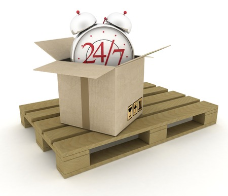 overnight: Executing online delivery of goods in the stream 24 hours. Logistics concept