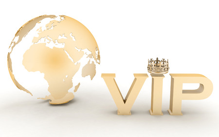 vip symbol: VIP abbreviation with a crown. 3D text on a globe background Stock Photo