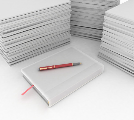 big pile of paper, notebook and pen  on white background photo