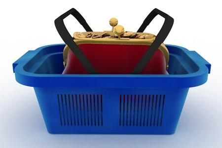 Shopping basket and purse full of money. Concept of saving money. 3d render illustration on white background. illustration