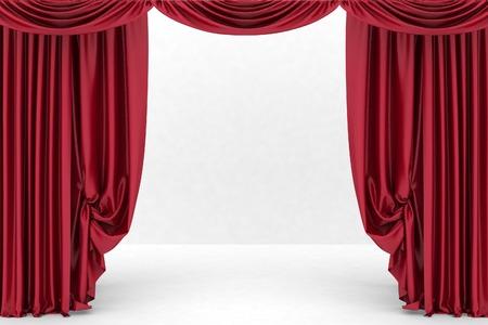 Open red theater curtain. 3d illustration Standard-Bild