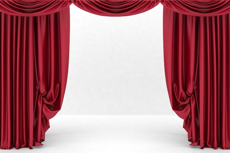 theater curtain: Open red theater curtain. 3d illustration Stock Photo