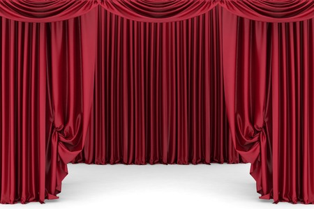 red theater curtain: Open red theater curtain. 3d illustration Stock Photo