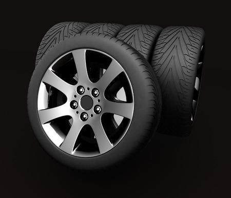 Car Wheels. Concept design. 3D render Illustration on Black Background. Stock Photo