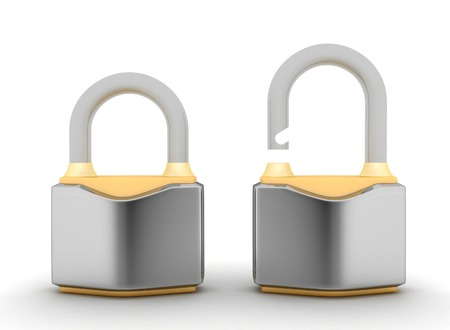 Chrome padlock. Security concept. 3d illustration on a white background illustration