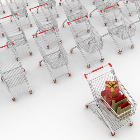 aluminum: Many Shopping Carts. 3d render. Stock Photo