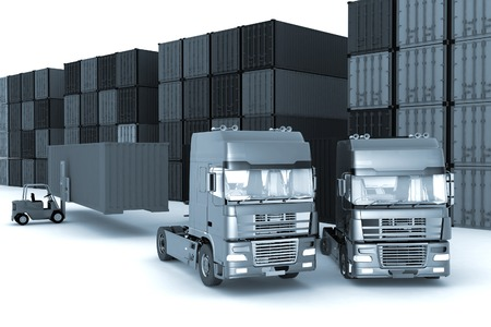 loading dock: loading of containers on big  trucks in storage outdoors
