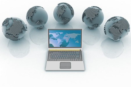 conception: Laptop and globes. Conception global computer network