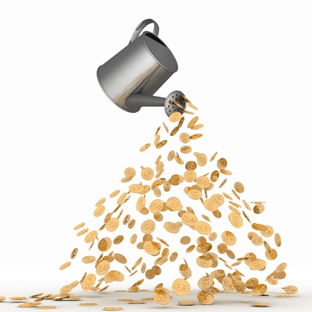 poured: Gold dollars poured from a watering can. 3d render illustration on white.