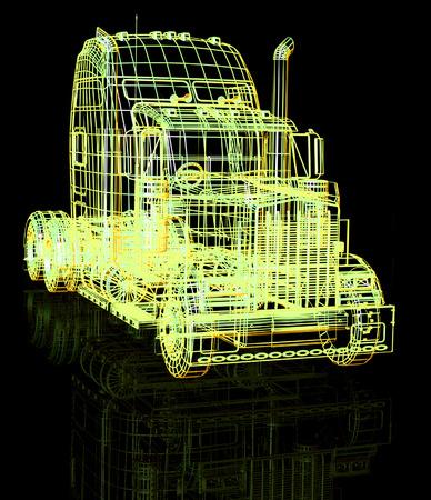remolque: Camión 3d. Hacer la ilustración en negro.