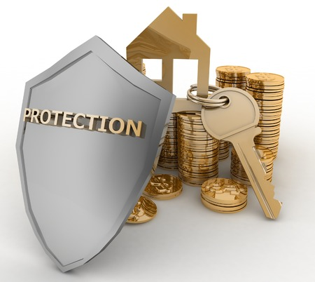mortgage rates: 3d house symbol with key on Pile of gold coins covered by protection shield. Concept of protection of mortgage credit Stock Photo