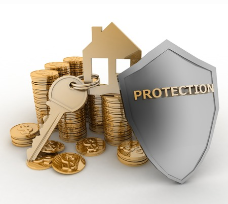 secured property: 3d house symbol with key on Pile of gold coins covered by protection shield. Concept of protection of mortgage credit Stock Photo