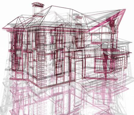 perspectiva lineal: Arquitectura moderna abstracta. 3d hacer ilustración.