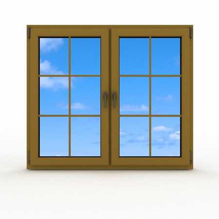 plastic window: 3d closed plastic window on white background