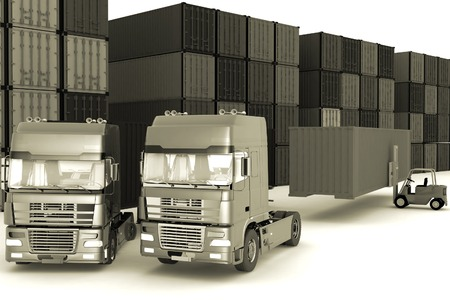 work crate: Loading of containers on big  trucks in storage outdoors Stock Photo
