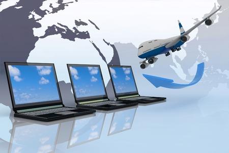 jet airplane: 3d passenger jet airplane travels around the world