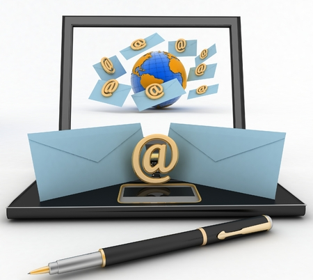 get in touch: Laptop with incoming letters via e-mail. 3d render illustration