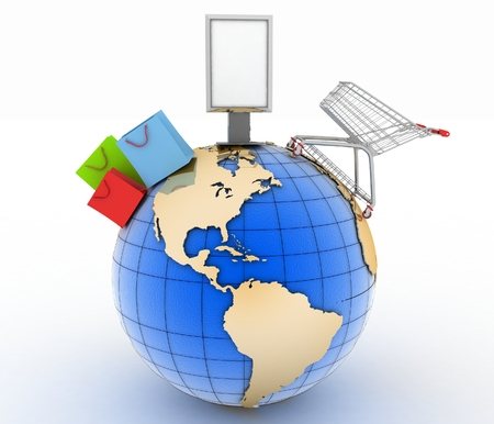 Shopping cart, shopping bags  and  billboard on a globe.  World trade concept. 3d illustration on white background