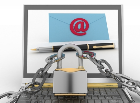 get in touch: Laptop with incoming letters via email protected lock. 3d render illustration