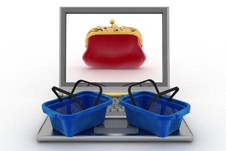 commodities: Cestas de comida y un ordenador port�til con una bolsa de dinero. Concepto de las compras de productos en Internet en todo el mundo. 3d ilustraci�n