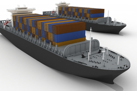 shipload: Cargo ships isolated on white background Stock Photo