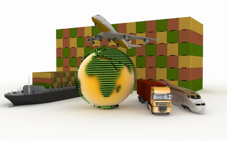 transporting: Types of transport of transporting are loads. 3d illustration on a white background
