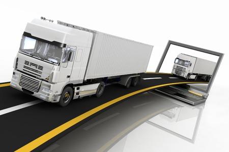 ciężarówka: Ciężarówki na autostradzie wychodzi z laptopa. 3d render ilustracji. Pojęcie dostawy logistyki i transportu ładunków transportem samochodowym. Zdjęcie Seryjne