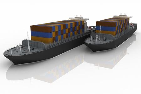 wharf: Cargo ships. 3D render Illustration. Stock Photo