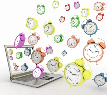 taking off: Laptop and clock taking off from his screen. 3d illustration on white background Stock Photo
