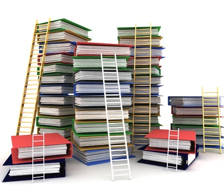 advancement: Folders and ladders. Conception of career advancement Stock Photo