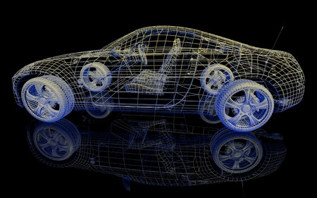wire mesh: Car model on black background with reflection