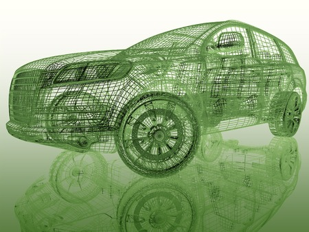 raytraced: car model on colored background