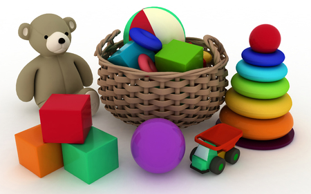 3d render illustration of childs toys in a small basket