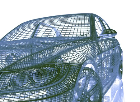 wire mesh: car model on white background Stock Photo