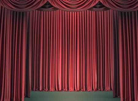 sipario chiuso: Red chiuso il sipario, illuminato da un riflettore