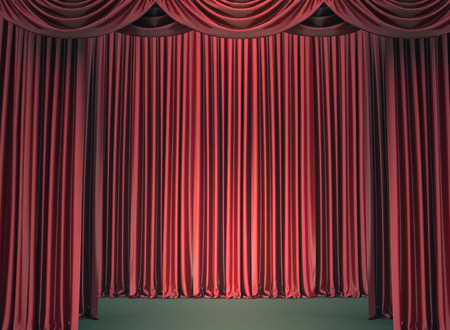 lit: Red closed the curtain, lit by a spotlight