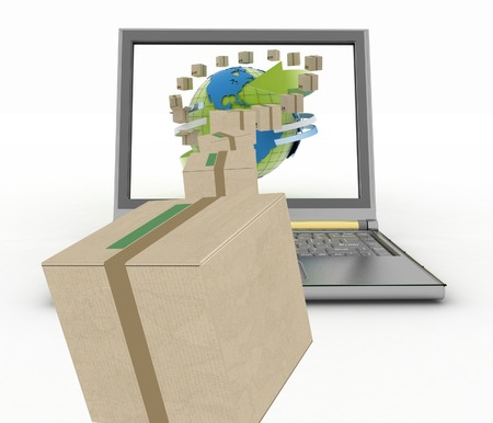 overnight delivery: Concept of online goods orders worldwide. 3d illustration on white background