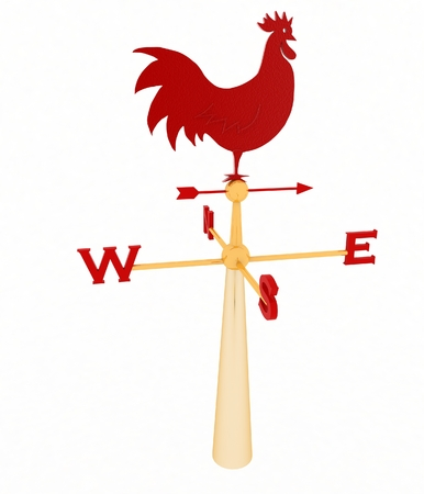 gusty: Rooster weather vane isolated on white background.3d image