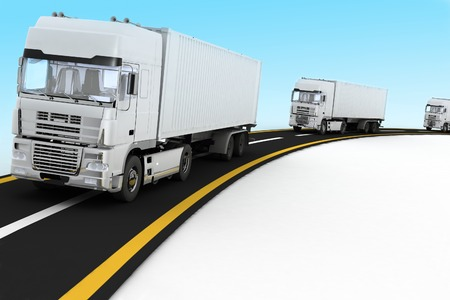 move controller: White Trucks on freeway. 3d render illustration. Concept of logistics, delivery and transporting by freight motor transport.