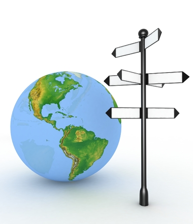 direction sign: Direction sign with empty arrows and globe on white background