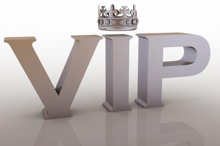 abbreviation: VIP abbreviation with a crown. 3D text.