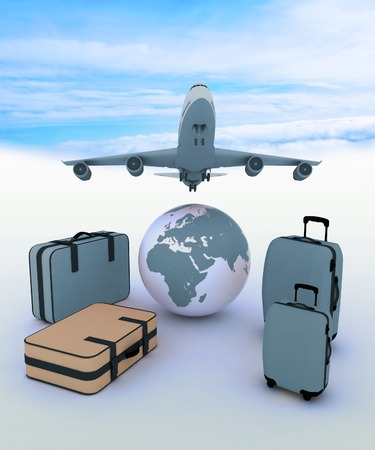 airliner: Airliner and suitcases on sky background Stock Photo